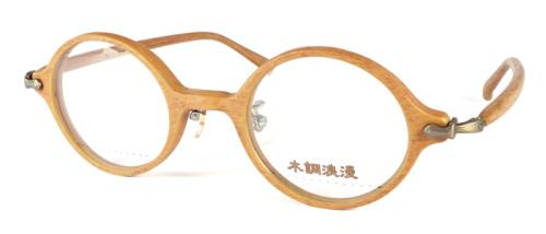 ベージュの木のような風合いの丸メガネ