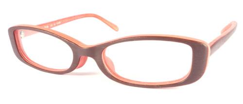ブラウン、裏がオレンジの木調メガネ