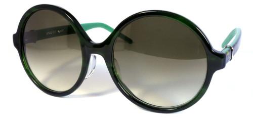 グリーンとべっ甲柄のラウンドサングラス