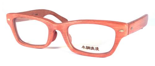 肌色の木調メガネ