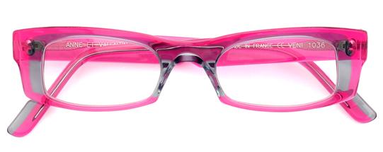 ピンクとグレーのスクエアフレーム