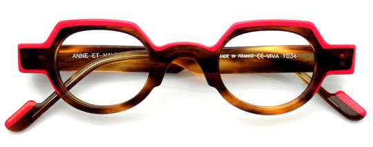 赤とべっ甲柄のボストンメガネ