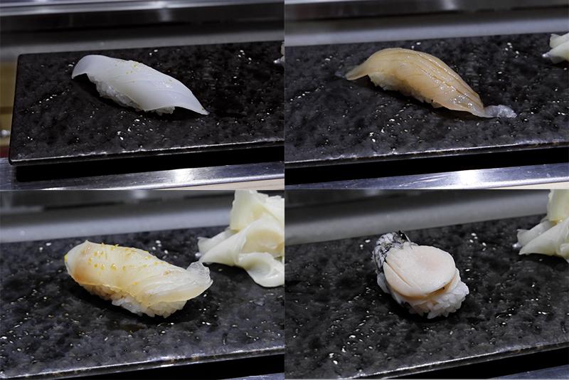 アオリイカ、ヒラマサ、白身魚昆布〆、アワビ