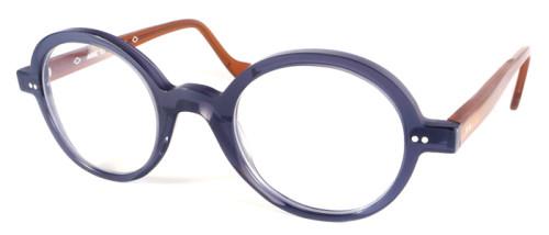 フロントはブルーグレー、テンプルはブラウンの丸メガネ