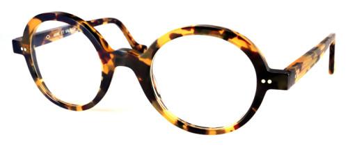 薄いべっ甲柄の丸メガネ