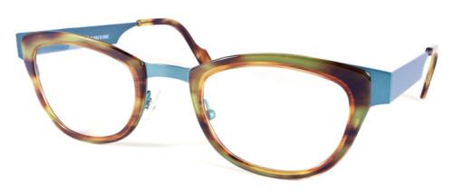 グリーンと茶色の異素材を組み合わせたメガネ