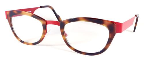 赤とべっ甲柄の異素材を組み合わせたメガネ