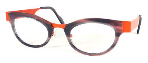 オレンジとグレーのコンビネーションメガネ