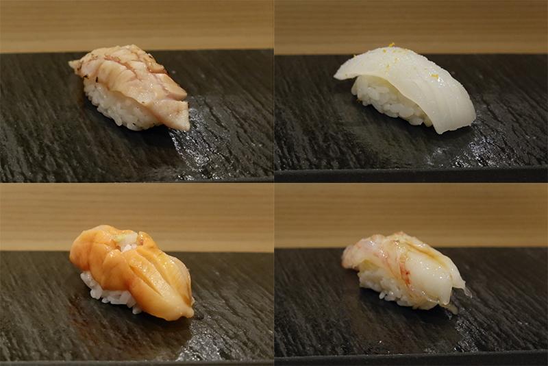 キンメダイ、スミイカ、赤貝、ボタンエビ