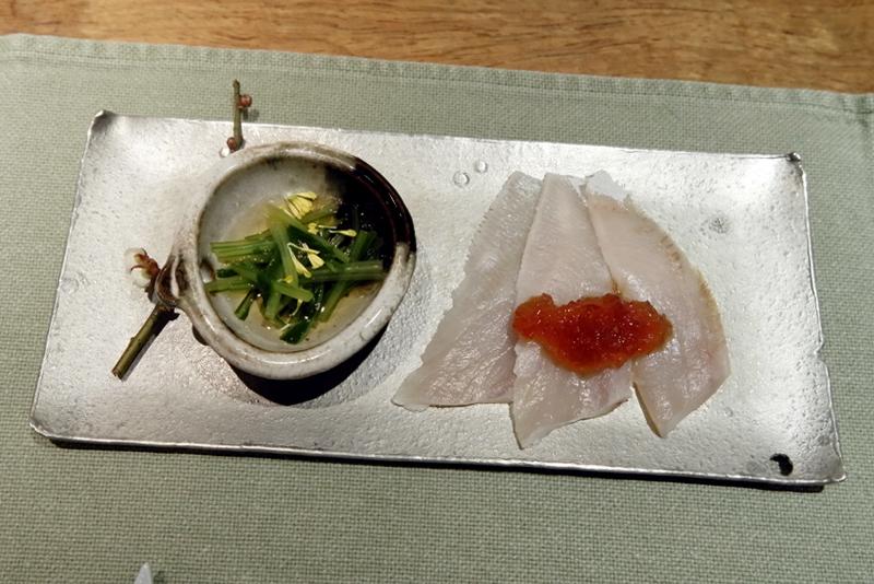 寒ブリ刺身、壬生菜のお浸し