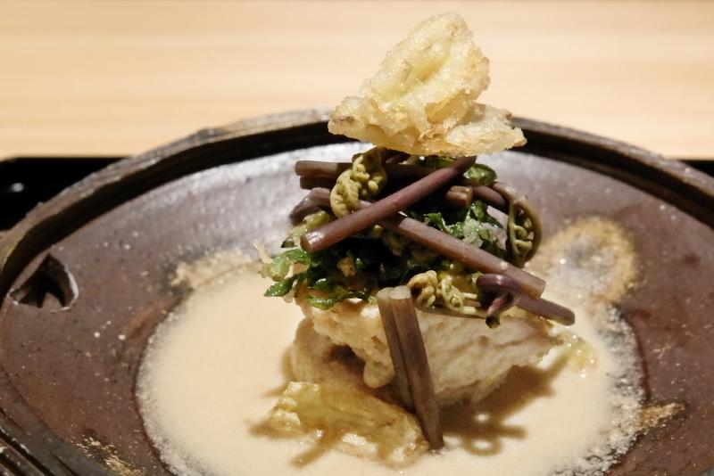 サワラの利休焼き、山菜、焼きタケノコ