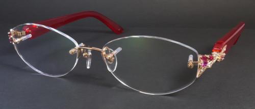 べっ甲、18金、宝石の付いた縁なしメガネ