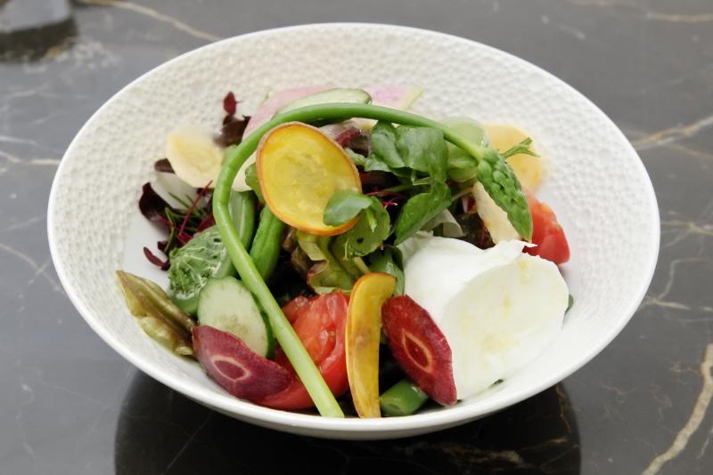 金沢メグリー農園の野菜と竹島さんのモッツァレラのサラダ