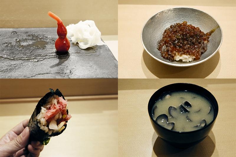 ヒョウタンの柴漬け、イクラ海苔佃煮和え、玉ネギトロ、シジミ汁
