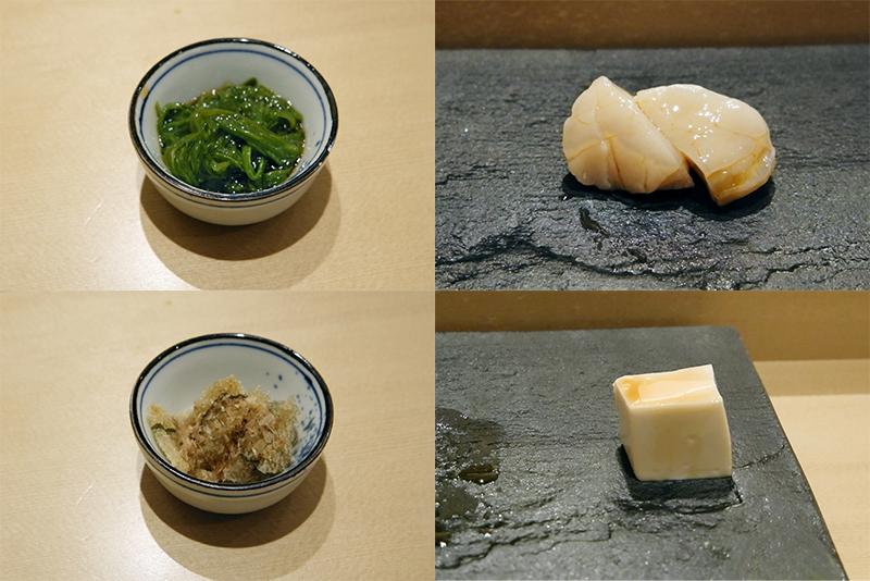 メカブ、ホタテ、子持ち昆布、湯葉豆腐
