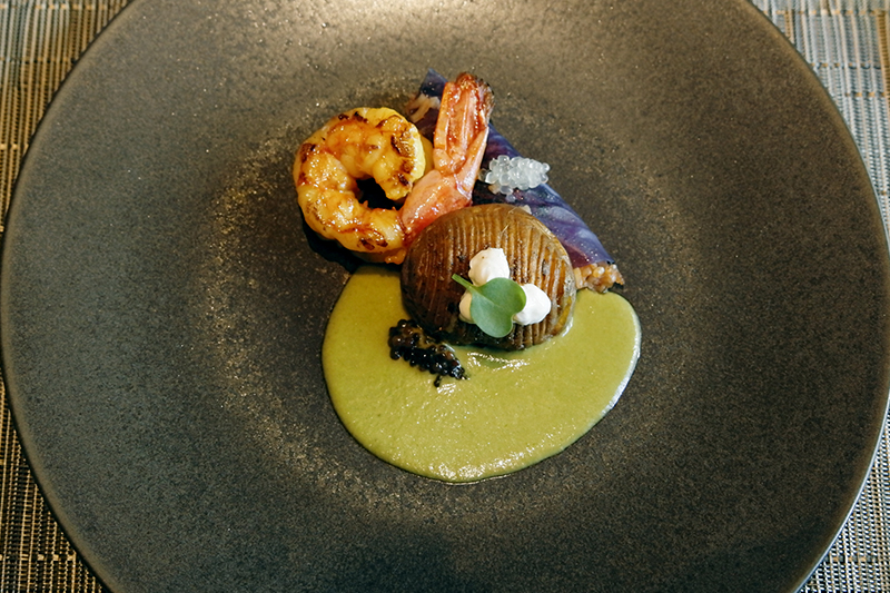 海老、ポテト、ニラと長ネギのマスタードソース