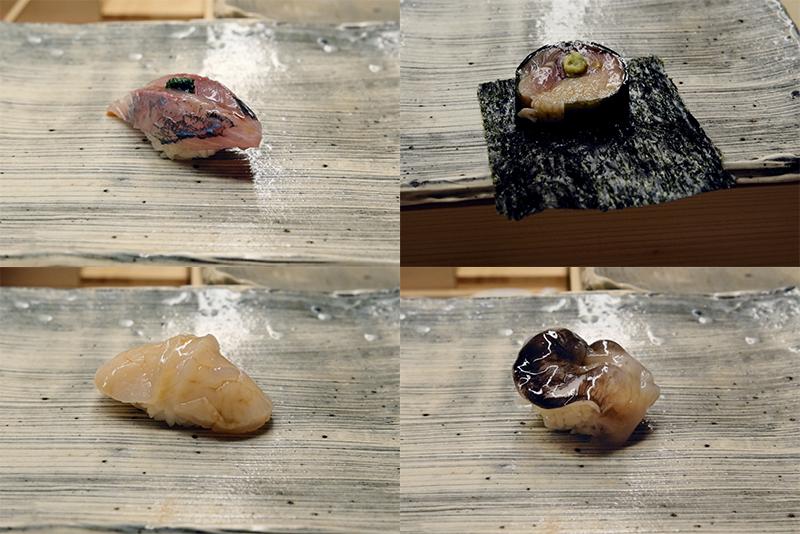 アジ、鯖棒寿司、ホタテ、トリガイ