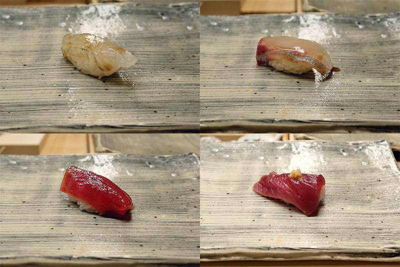 ヒラメ昆布〆、シマアジ、赤身漬け、カツオ