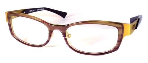 プラスチックとステンレスのコンビメガネ、色はブラウンとイエロー